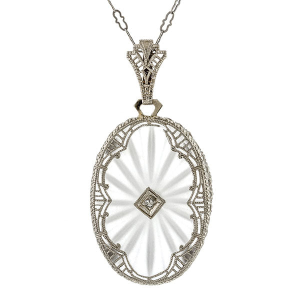 Art Deco Diamond & Rock Crystal Pendant