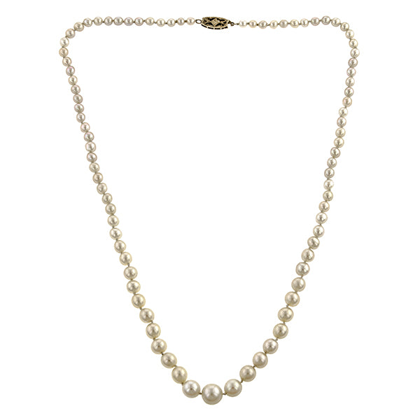 Graduated Single Strand Pearl Necklace
