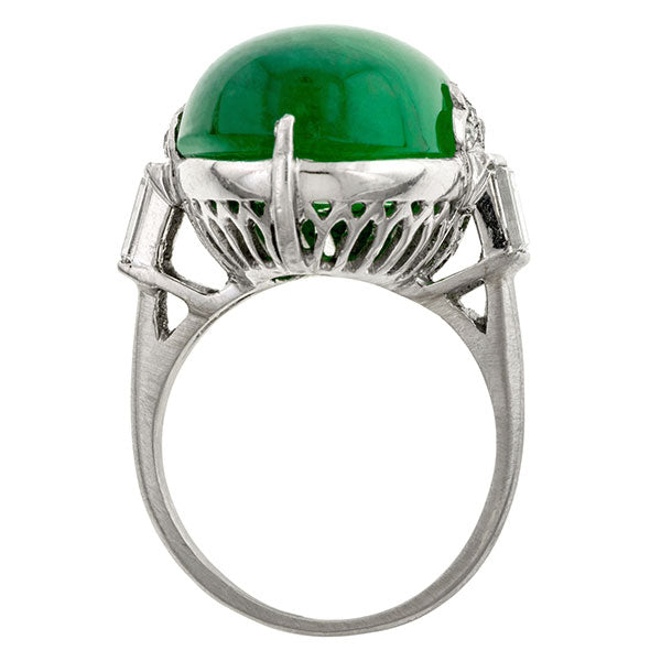 Art Deco Cabochon Emerald & Diamond Ring