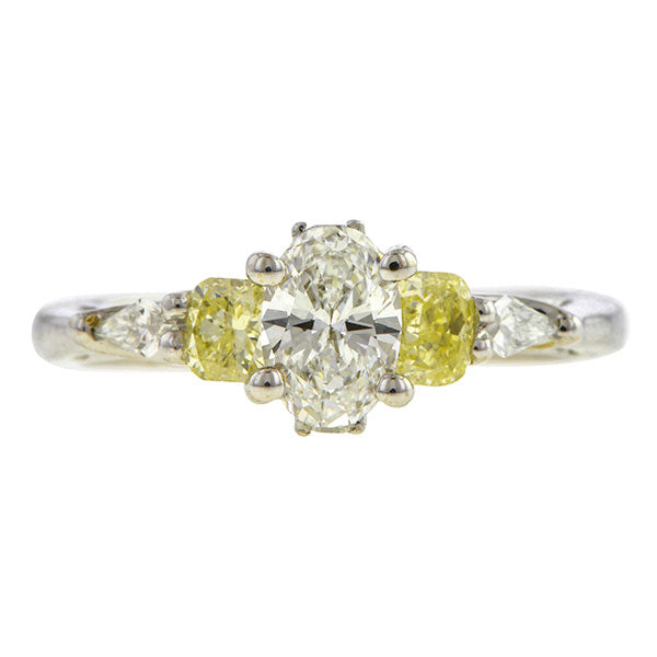 Estate ring: a White Gold Oval Cut Diamond Engagement Ring sold by Doyle & Doyle vintage and antique jewelry boutique.