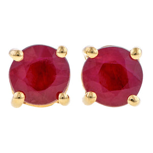 Round Faceted Ruby Earrings