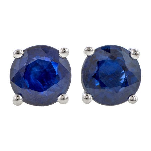 Round Faceted Sapphire Earrings