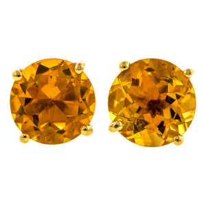Round Citrine Earrings