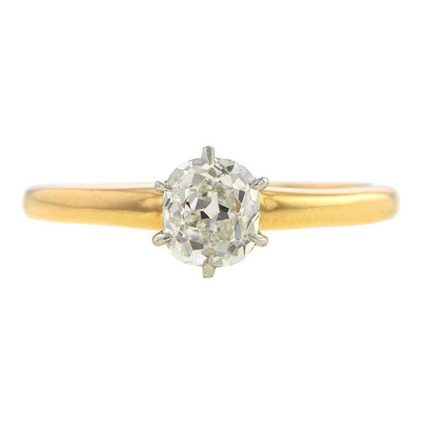 Vintage Solitaire Engagement Ring, Cushion 0.85ct