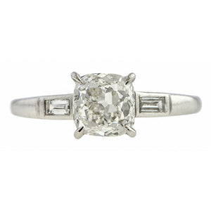 Vintage Engagement Ring, Cushion cut 1.53ct