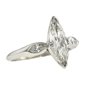 Vintage Engagement Ring, Marquise 0.94ct., sold by Doyle & Doyle an antique and vintage jewelry store.