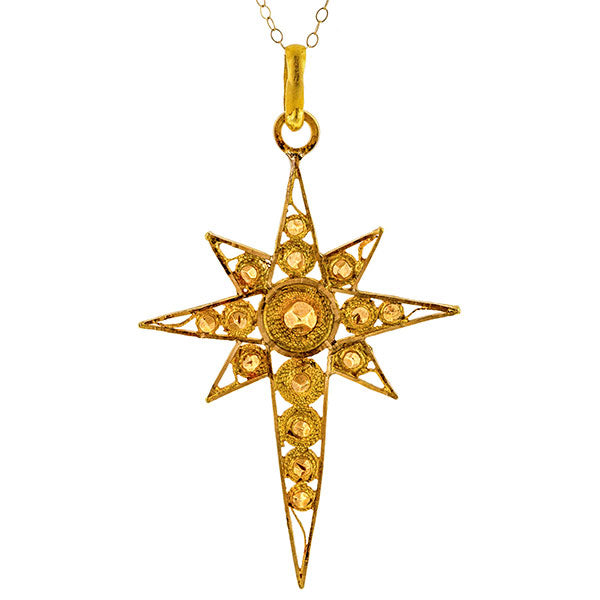 Vintage Filigree Starburst Cross Pendant Necklace