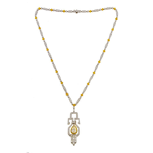 Estate Art Deco Style Yellow & White Diamond Necklace