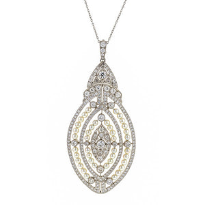 Antique Diamond & Pearl Pendant