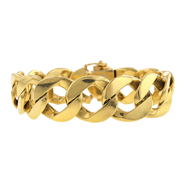 Vintage Bracelet, Curb Link Gold, sold by Doyle & Doyle vintage and antique jewelry boutique.