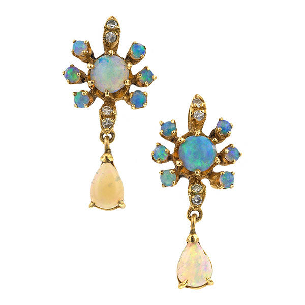 Vintage Opal & Diamond Drop Earrings sold by Doyle & Doyle vintage and antique jewelry boutique.