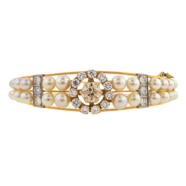 Vintage Diamond & Pearl Bracelet sold by Doyle & Doyle vintage and antique jewelry boutique.