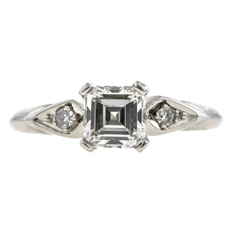 Vintage Engagement Ring, Asscher cut 0.86ct.