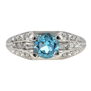 Vintage Aquamarine & Diamond Ring