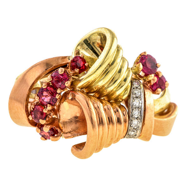 Retro Ruby & Diamond Two Ring