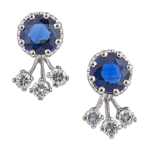 Estate Sapphire & Diamond Earrings