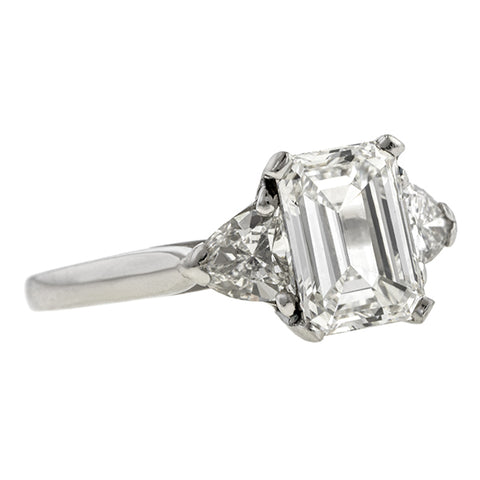 Estate Engagement Ring, Emerald cut 1.69ct.