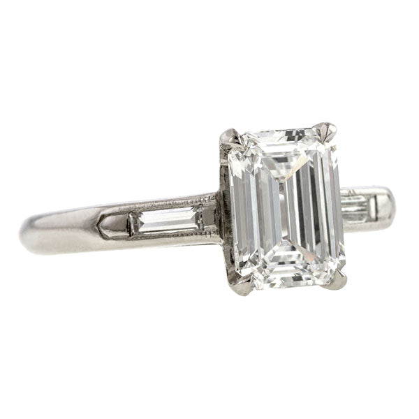 Estate Engagement Ring, Emerald cut 1.50ct.