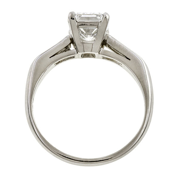 Estate ring: a Platinum Emerald Cut 1.50ct Diamond Engagement Ring sold by Doyle & Doyle vintage and antique jewelry boutique.