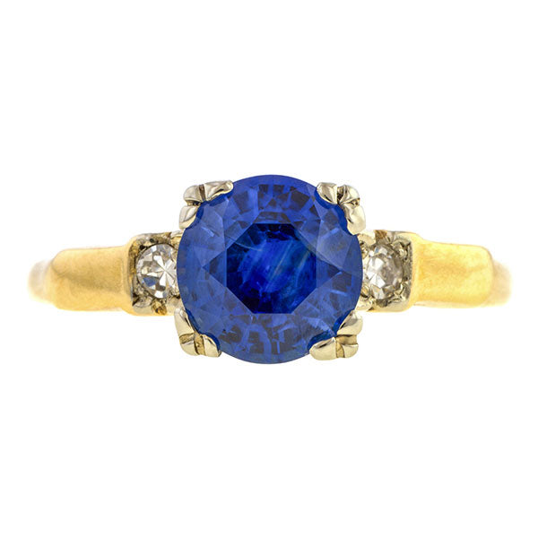 Vintage Sapphire (no heat) & Diamond Ring, 1.97ct