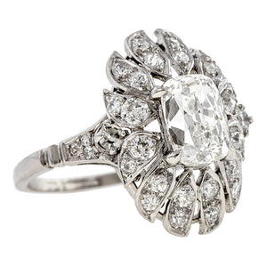 Vintage Diamond Engagement Ring, Cushion 1.52ct.