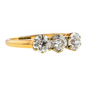 Antique Three Stone Engagement Ring, Old European Diamond , sold by Doyle & Doyle an antique and vintage jewelry store.
