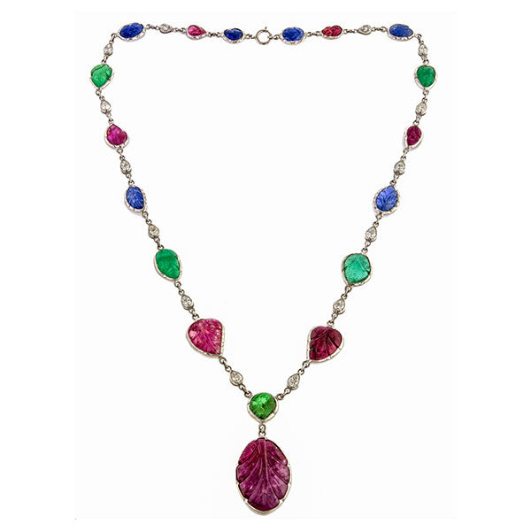Tutti Frutti Sapphire, Ruby, Emerald & Diamond Necklace