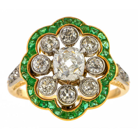 Edwardian Diamond Cluster Emerald Frame Ring