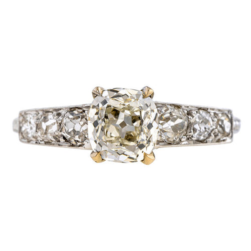 Vintage Engagement Ring, Cushion Cut 1.12ct., sold by Doyle & Doyle an antique and vintage jewelry boutique.