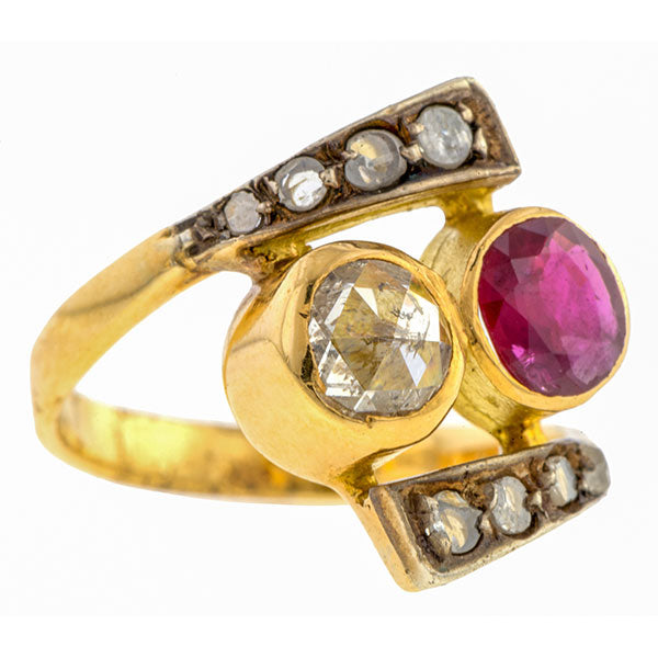 Antique Ruby &  Rose Cut Twin Stone Ring