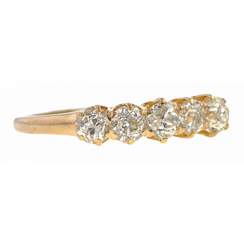 Antique Diamond Ring, Five Stone Old European, sold by Doyle & Doyle an antique and vintage jewelry store.