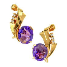 Retro Oval Amethyst & Diamond Earrings