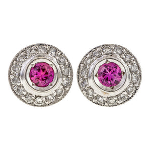 Pink Sapphire & Diamond Stud Earrings