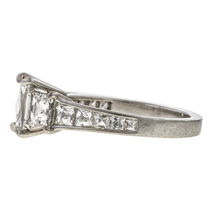 Estate ring: a Platinum French Cut Diamond Engagement Ring, 1.00ct sold by Doyle & Doyle vintage and antique jewelry boutique.
