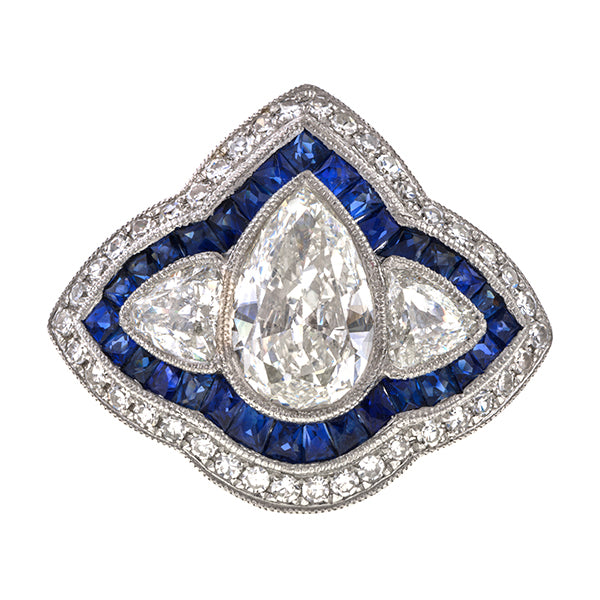 Estate Engagement Ring, Pear Shaped Diamond 1.52ct., sold by Doyle & Doyle an antique and vintage jewelry boutique.