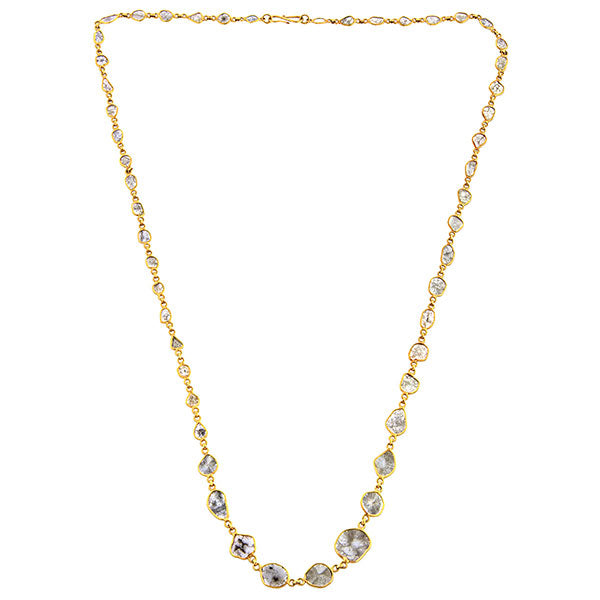 Necklaces: a Yellow Gold And Set Of Diamond Slices Chain sold by Doyle & Doyle vintage and antique jewelry boutique.