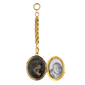 Victorian locket: a Yellow Gold Oval Black Enamel Lockets sold by Doyle & Doyle vintage and antique jewelry boutique.