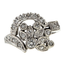 Vintage Foliate Motif Diamond Ring sold by Doyle & Doyle an antique and vintage jewelry store.