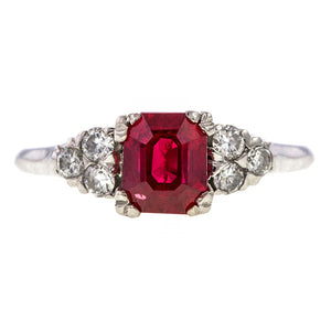 Estate ring: a Platinum Ruby And Diamond Engagement Ring sold by Doyle & Doyle vintage and antique jewelry boutique.