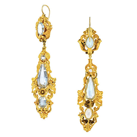 Early Victorian Aquamarine Drop Earrings