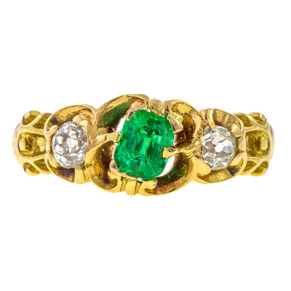 Victorian Emerald & Diamond Ring, sold by Doyle & Doyle a vintage and antique jewelry store.