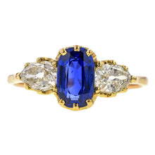 Antique ring: a Yellow Gold Sapphire & Diamond Engagement Ring, sold by Doyle & Doyle an antique and vintage jewelry store.