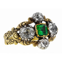 Georgian ring: a Yellow Gold Emerald Cut Emerald And Old MIne Cut Diamond Ring sold by Doyle & Doyle vintage and antique jewelry boutique.