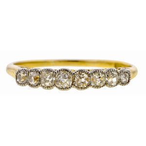 Antique Diamond Wedding Band Ring, a wedding band set with Swiss cut diamonds in platinum and yellow gold, sold by Doyle & Doyle vintage and antique jewelry boutique.