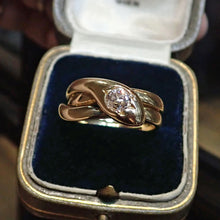 Victorian ring: a Yellow Gold Snake Old European Diamond Engagement ring sold by Doyle & Doyle a vintage and antique jewelry store.