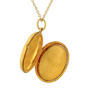 Victorian locket: a 15k Yellow Gold Pearl And Engraved with Star Locket Pendant sold by Doyle & Doyle vintage and antique jewelry boutique.