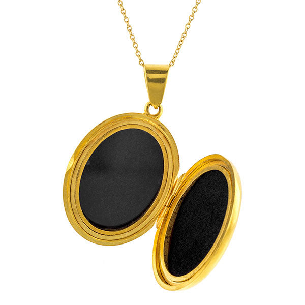 Victorian locket: an 18k Yellow Gold Oval Locket Pendant Necklace sold by Doyle & Doyle vintage and antique jewelry boutique.