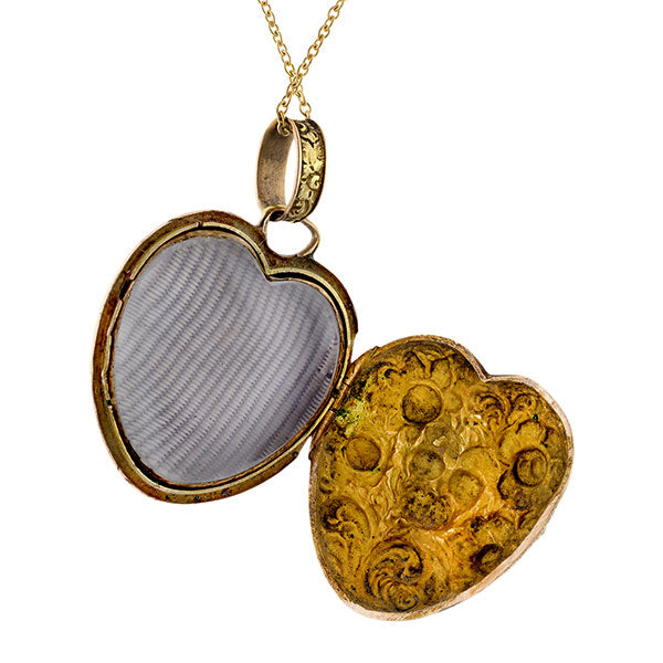 Georgian Heart Locket Pendant Necklace