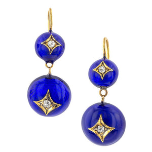 Victorian Diamond & Blue Enamel Drop Earrings