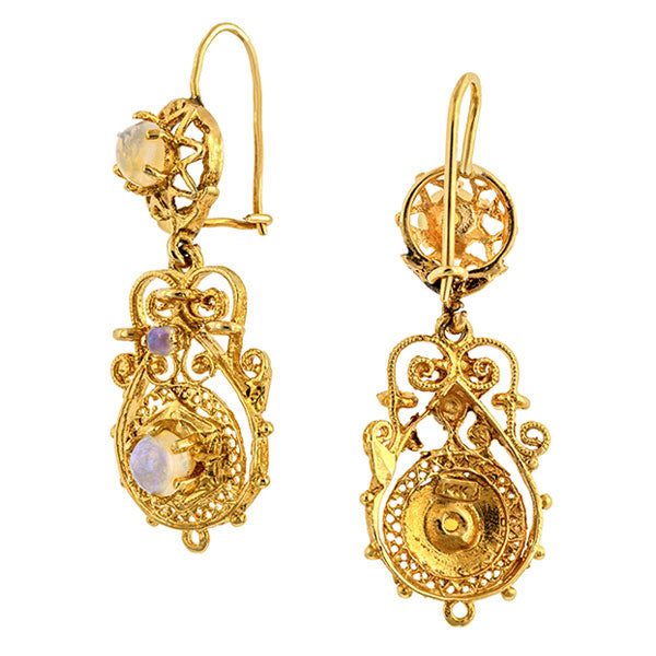 Vintage Opal Filigree Earrings, sold by Doyle & Doyle vintage and antique jewelry boutique.